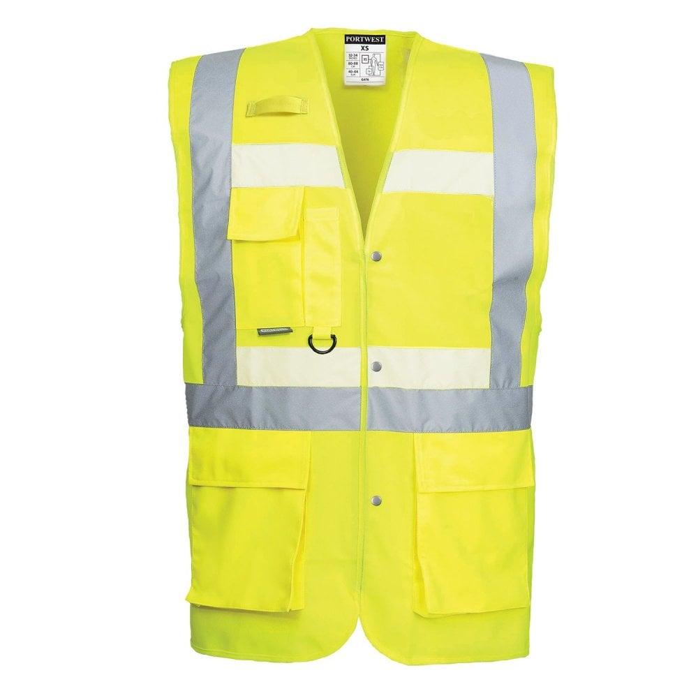 Portwest Exective Hi-Vis Vest  with ID Holder Zip Safety Waistcoat C497