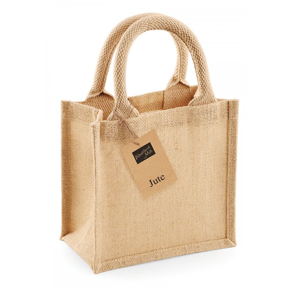 Westford Mill Jute Mini Gift Bag Ladies Tote Shopper Natural Handbag W412